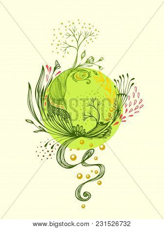 Abstract World With Trees Flowers Leaves Petals  In Green. Symbolic Composition. Metamorphosis  Of N