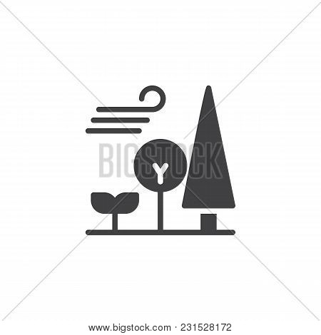 Forest Trees And Blowing Wind Vector Icon. Filled Flat Sign For Mobile Concept And Web Design. Windy