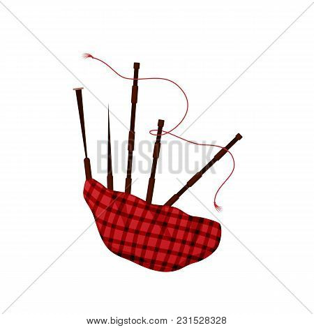 Traditional Musical Wind Instrument Bagpipes. National Scottish Musical Instrument. A Bag Made Of Ca