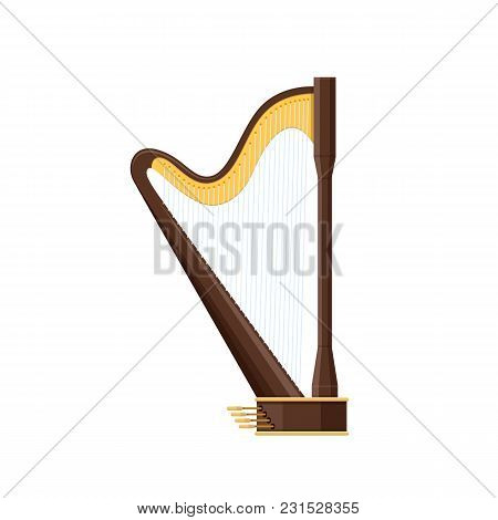 Classic Old Wooden Harp, Traditional String Musical Instrument. Holiday, Music On Harp. Carnival, Ma