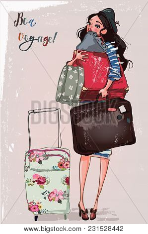 Cute Fashion Cartoon Girl In Sketchy Style With Suitcases