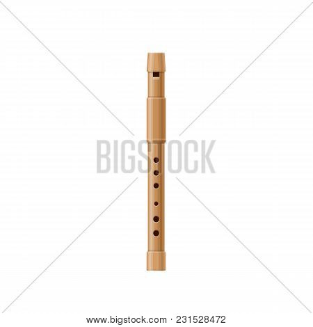 Wooden Pipe, Flute, Music Tube. Wind Classic Old Musical Instrument, Concert Instrument For Ethnic A