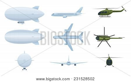 Modern Air Vehicles. Air Balloon Aerostat, Helicopters, Airplanes In Different Angles Side View, Fro