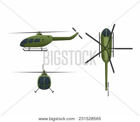 Air Vehicles. Flying Helicopter, For Transportation. Air Passenger Helicopter In Angles Side View, F