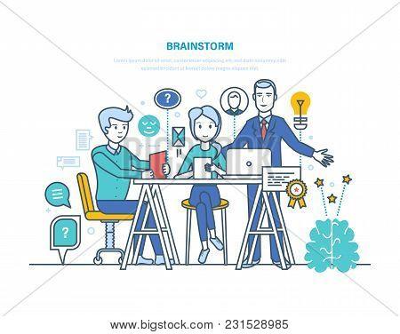 Brainstorm, Brain Training, Creative Thinking And Business Idea. Innovation, Solution, Teamwork, Par