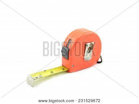 Image Of Orange Tape Measure Isolated White Background