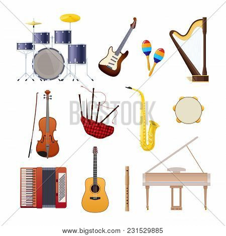 Set Of Classical Musical Instruments Drums, Acoustic And Electronic Guitars, Violin, Accordion, Trum