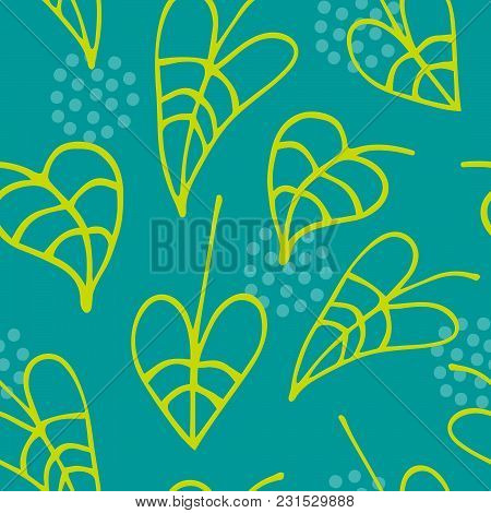 Floral Seamless Pattern With Hand Drawn Leaves On Green Background. Vector Illustration For Design A