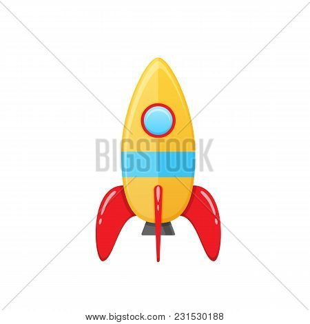 Modern Colorful Children S Toy Space Rocket With A Round Window. Aircraft For Cosmonauts, Exploring