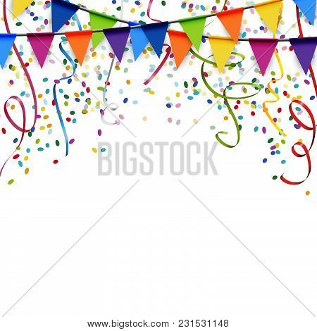 Garlands, Streamers And Confetti Background
