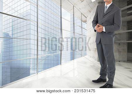 Digital composite of gigantic model in the office