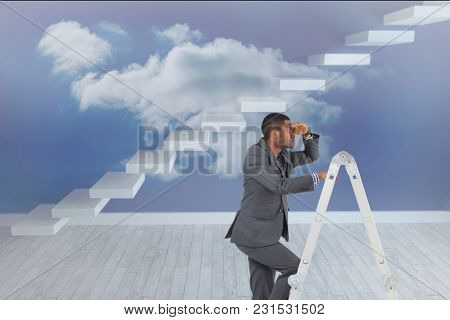 Digital composite of model on ladder