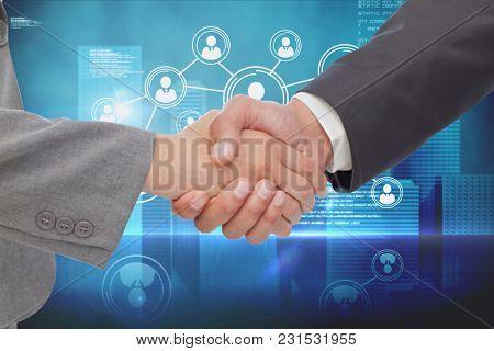 Digital composite of business dealing concept
