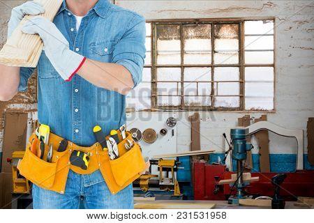 Digital composite of carpenter at workshop