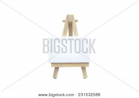 Canvas Board With Wood Stand Isolated White Background