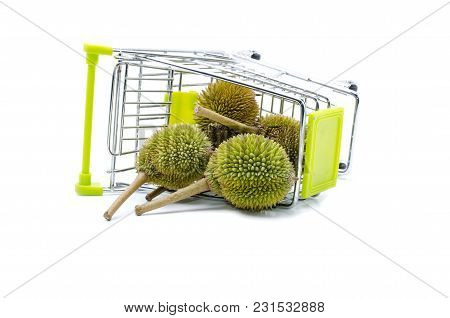 Group Of Durian On Trolley,king Of Fruits Isolated On White Background