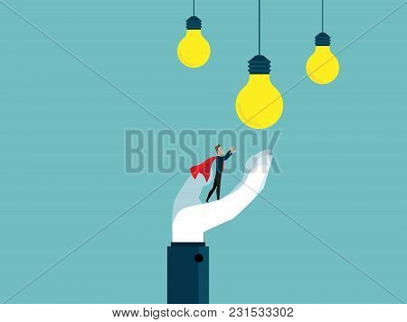 Illustration Of Businessman With Big Help Hand Get Bulb Idea Business Teamwork Concept