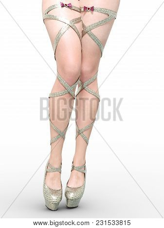 Beautiful Female Legs Sandals High Heels. Sexy Slim Female Legs Boots. Summer Collection. Seductive