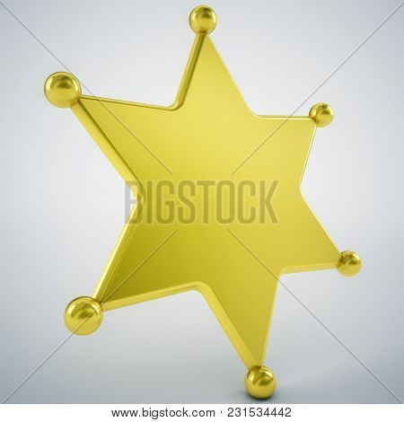 Blank Sherrif Badge Gold And Empty Background Easy To Use