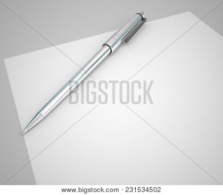 Blank Paper And Silver Pen Empty Background Easy To Use