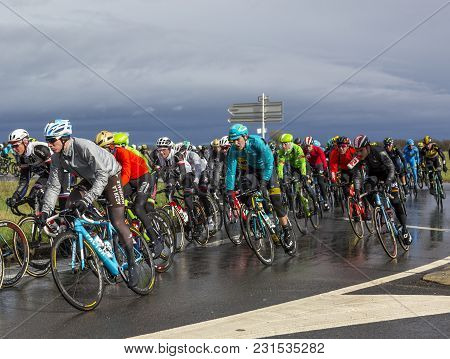 Cernay-la-ville, France - March 5, 2017: The Belgian Cyclist Laurens De Vreese Of Astana Team Riding