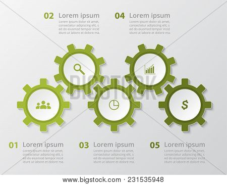 Step By Step Infographic. Template With 5 Numbers Can Be Used For Workflow Layout, Diagram, Chart, N