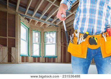 Digital composite of handyman at work