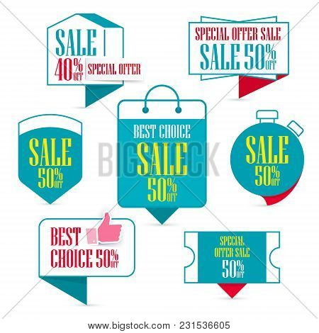 Set Of Special Offer Sale Turquoise Tag. Sale And Discount Promo Pointer On Shopping Day, 50% Off Di
