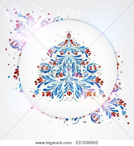 Blue New Year Tree. Festive Vector Illustration