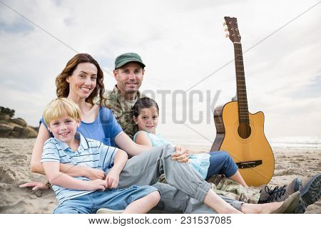 Digital composite of family outdoors