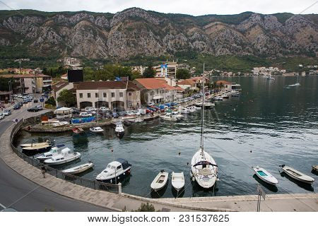 Kotor, Montenegro - September 25: View From The Top Of The City To The Houses Water Yachts In The Eu