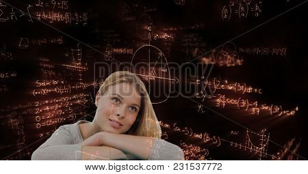 Digital composite of Thoughtful woman looking away against math graphics
