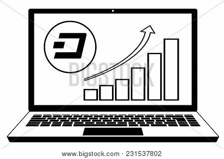 Coin Dash With Diagram On A Screen Laptop ,exchange Dash In The Laptop,design Concept Black And Whit