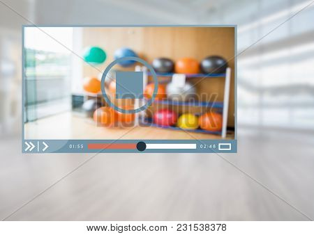 Digital composite of Fitness Exercise Video Player App Interface