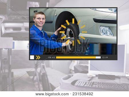 Digital composite of Auto Mechanic Video Player App Interface