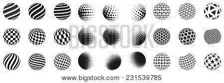 Set Of Minimalistic Shapes. Halftone Black Color Spheres Isolated On White Background. Stylish Emble