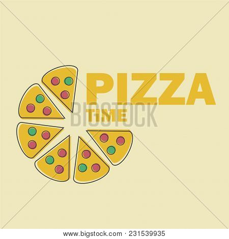 Pizza Slices Vector Illustration In Line Art Flat Style Design Funny Image For Menu Or Site Symbol