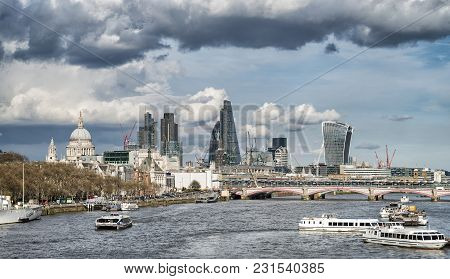 Beautiful Landscape Image View From Waterloo Bridge Along River Thames Towards Financial District In