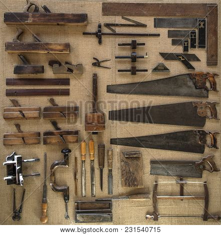 Collection Of 18th Century Tools For Carpenter Or Joiner