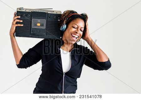 Woman enjoy listening to music