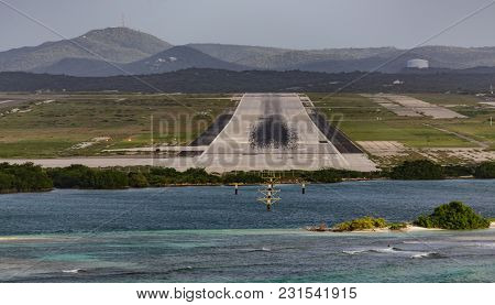 Skid Marks On End Of Runway At Aruba Airport