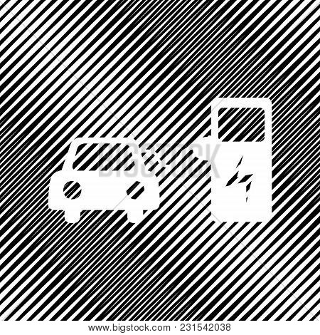 Electric Car Battery Charging Sign. Vector. Icon. Hole In Moire Background.
