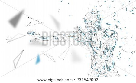 Conceptual Abstract Man Is Afraid Of Fear. Connected Lines, Dots, Triangles, Particles. Artificial I