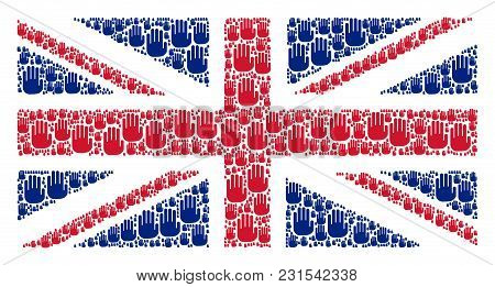 English Flag Collage Constructed Of Stop Hand Icons. Vector Stop Hand Icons Are United Into Geometri