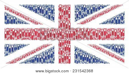 Great Britain State Flag Composition Created Of Test Tube Icons. Vector Test Tube Items Are Combined