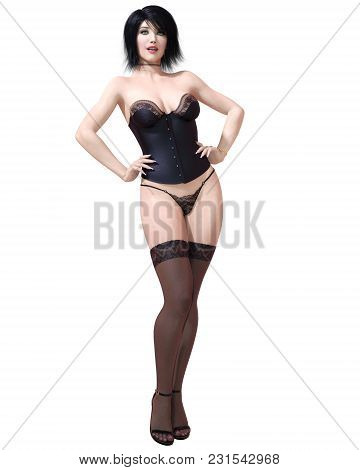 3d Beautiful Brunette Girl Lingerie, Corset And Stockings.black Clothes.woman Studio Photography.hig