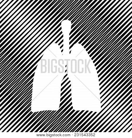 Human Anatomy. Lungs Sign. Vector. Icon. Hole In Moire Background.