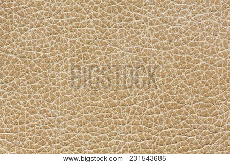 Gentle Leather Texture In Beige Tone. High Resolution Photo.