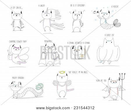 Hand Drawn Vector Doodles Of Cute Cats As Mythical Creatures - Unicorn, Mermaid, Fairy, Vampire, Sph