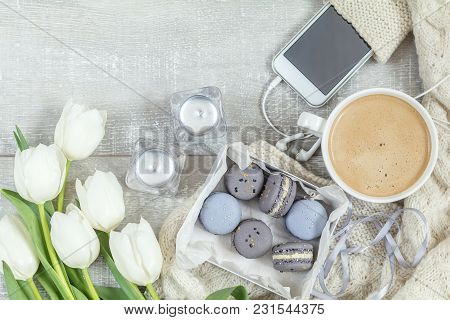 Cup Of Hot Coffee, Blue And Gray Macaroon, White Knitting Wool, White Tulip Flowers, Mobile Phone An
